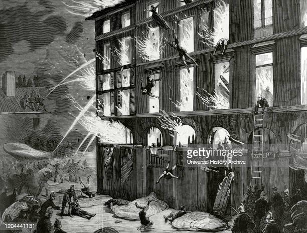 France Rouen Destruction of The Theatre des Arts by fire on the night of April 25 1876 Engraving by Rico La Ilustracion Espanola y Americana May 15...