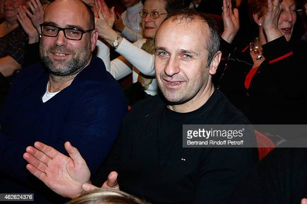France Rugby Team Trainer Philippe Saint Andre attends France Rugby Team for '2015 6 Nations Tournament' is Guest of Honor at Hibernatus Theater Play...
