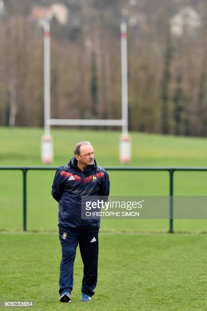 France rugby union national team coach Jacques Brunel attends a training session on January 23 2018 at the team's training camp in Marcoussis south...