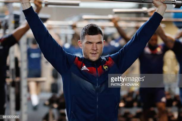 France rugby union national team player Remy Grosso takes part in weightlifting session on March 13 2018 in Marcoussis as part of the team's...