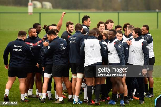 France rugby union national team players gather during a training session on January 23 2018 at the team's training camp in Marcoussis south of Paris...