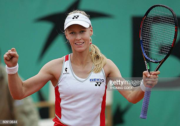 Russian Elena Dementieva celebrates after her match against US Lindsay Davenport in the fourth round of the French Open at Roland Garros in Paris 30...