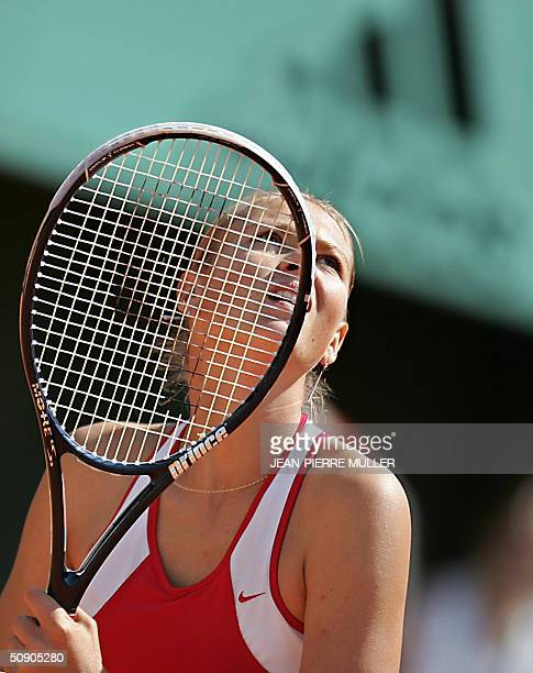 Russian Maria Sharapova prepares to return to Russian Vera Zvonareva on the third round of the French tennis open at Roland Garros in Paris 28 May...