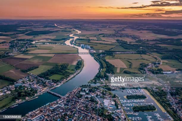 france, saint jean de losne, aerial view of marina at dusk - côte d'or bildbanksfoton och bilder