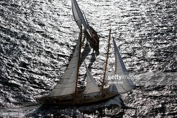 France SaintTropez St Tropez Les Voiles de SaintTropez 2008 aerial view of classical sailing yachts