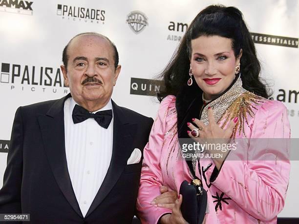 Saudiborn businessman Adnan Khashoggi and his wife Lamia Khashoggi pose as they arrive for the American Foundation for AIDS Research 'Cinema Against...