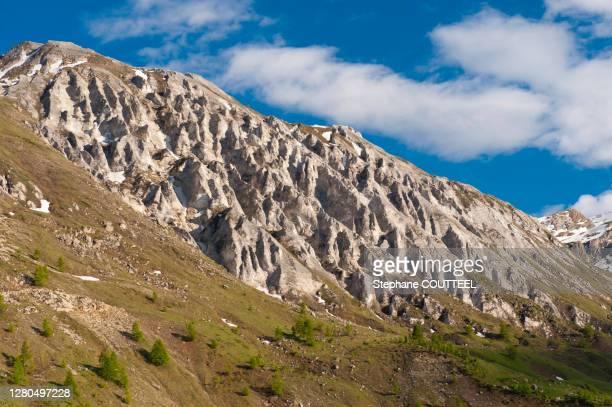 france, savoie, tignes, mountain pasture and retreat of the glacier marking global warming - rechauffement climatique photos et images de collection