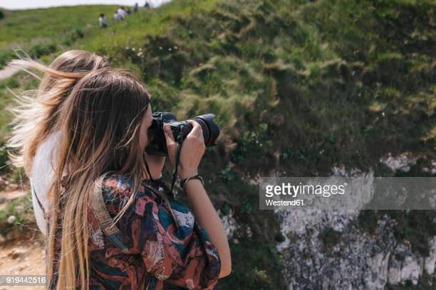 france, seine-maritime, yport, female photographers at alabaster coast - digital camera stock pictures, royalty-free photos & images