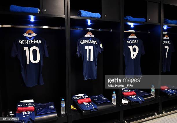 France shirts hang in the dressing room prior to the 2014 FIFA World Cup Brazil Quarter Final match between France and Germany at Maracana on July 4...