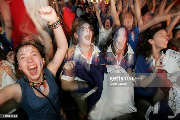 France soccer fans celebrate the country's third goal in their 3-1 victory over Spain in the FIFA World Cup 2006 Round of 16 match at an open-air...