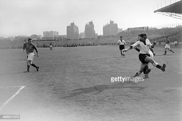 France soccer national team players face the German players during the match FranceWest Germany on October 051952 at Colombesnear Paris AFP PHOTO
