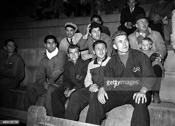 France soccer national team players rest between two training sessions on October 01 1952 at RueilMalmaison while preparing the match against germany...