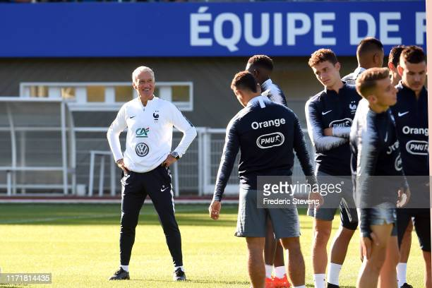 France Soccer Team head coach Didier Deschamps during a training session at the French National Football Centre as part of the preparation to UEFA...