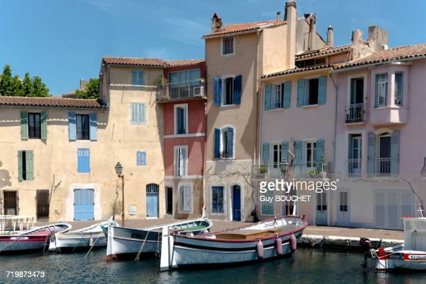 France, south-eastern France, Martigues, rowboats berthed along the wharf