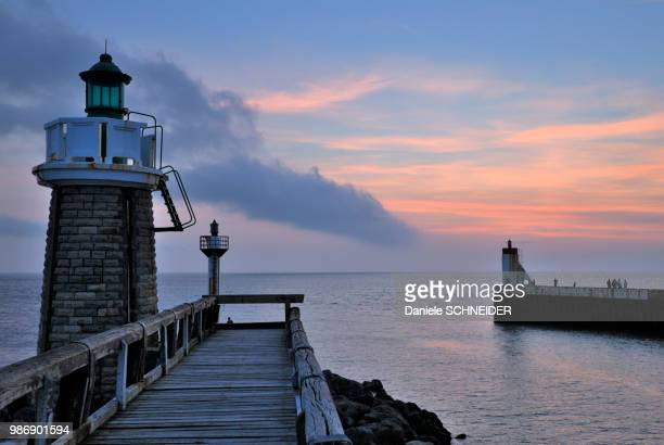 france, southwestern france, capbreton, pier of the port at sunset - aquitaine stock photos and pictures
