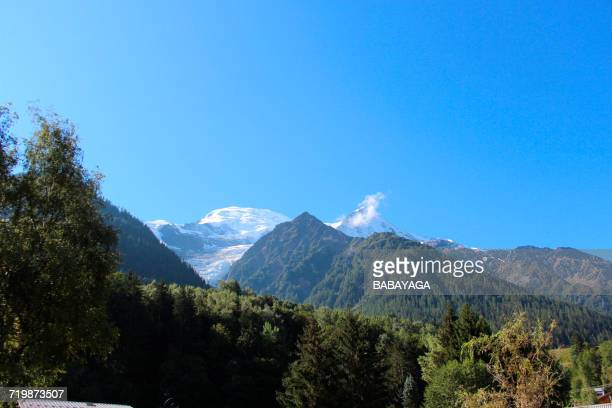 france, south-western france, les houches, mountain range, bossons glacier in the background - rhone alpes stock photos and pictures