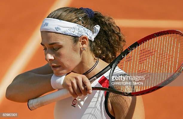 Spain Virginia Ruano Pascual reacts during the second round match against Belgium Justine HeninHardenne for the tennis French Open at Roland Garros...