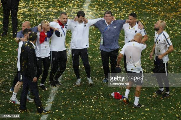 France staff members celebrate their victory following the 2018 FIFA World Cup Final between France and Croatia at Luzhniki Stadium on July 15 2018...