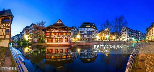 France, Strasbourg, La Petite France, with LIll river and half-timbered houses at blue hour