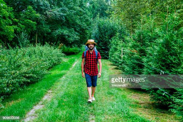 France, Strasbourg, man with travel backpack and straw hat walking on forest path