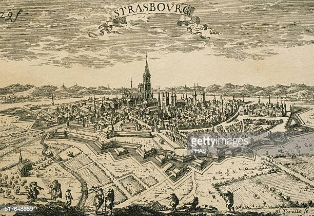 France Strasbourg Panorama of the walled city Engraving 17th century