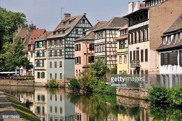 France Strasbourg Strassburg Timbered houses with the river Rhine