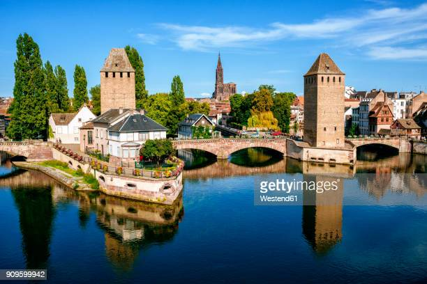 France, Strasbourg, the old towers of the city and the cathedral in the background