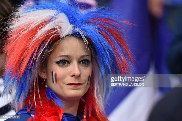 A France supporter is seen prior to the Euro 2016 group A football match between France and Albania at the Velodrome stadium in Marseille on June 15...