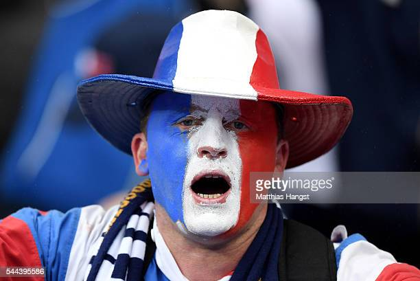 France supporter is seen prior to the UEFA EURO 2016 quarter final match between France and Iceland at Stade de France on July 3 2016 in Paris France