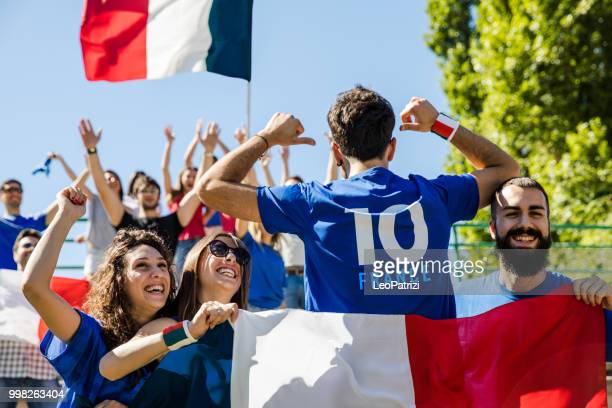 France supporters at the football league supporting their National Team