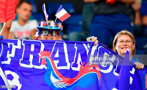 France supporters cheer for their team ahead of the start of the UEFA Women's Euro 2017 football match between Switzerland and France at the Rat...