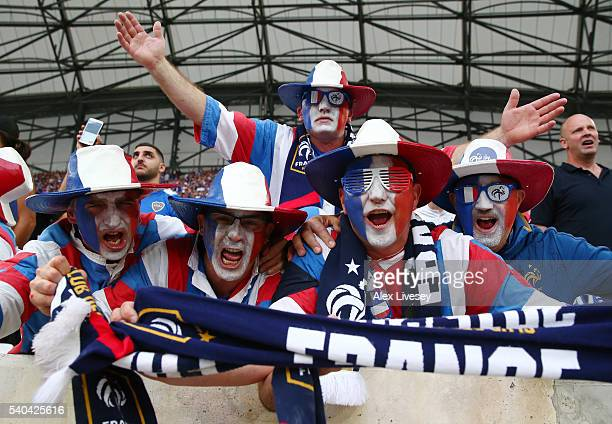 France supporters enjoy the pre match atmosphere during the UEFA EURO 2016 Group A match between France and Albania at Stade Velodrome on June 15...