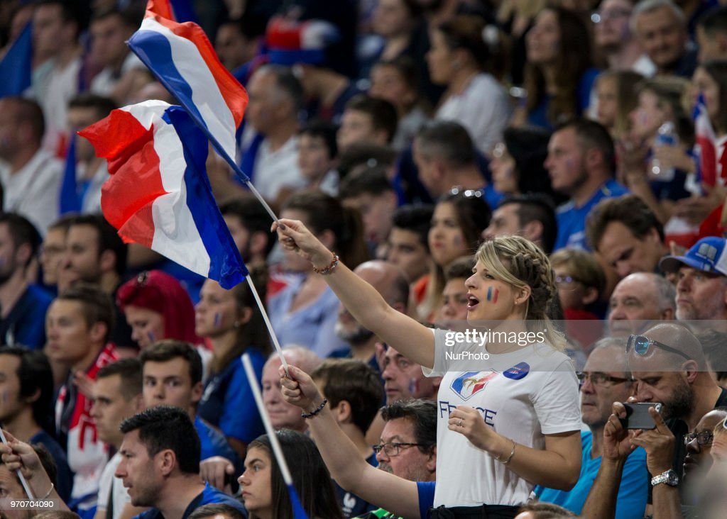 France Supporters of France during the friendly football match between France and USA at the at the Parc Olympique lyonnais stadium in Decines-Charpieu, near Lyon on June 9, 2018.