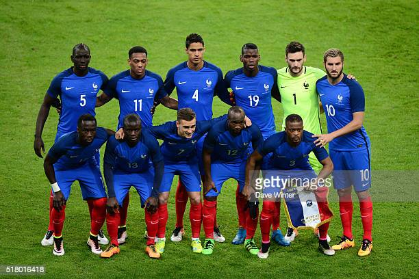 France team before the International friendly football match between France and Russia at Stade de France on March 29 2016 in Paris France