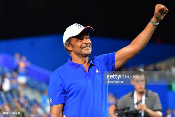 France team captain Yannick Noah celebrates at the end of Day 2 of the Davis Cup semi final on September 15 2018 in Lille France