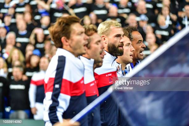 France team captain Yannick Noah with his team for the protocol at the start of Day 2 of the Davis Cup semi final on September 15 2018 in Lille France