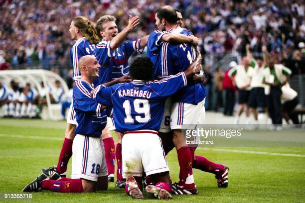 France team celabrate the goal of Zinedine Zidane during the Soccer World Cup Final between Brazil and France on July 12 1998 in Paris Saint Denis...