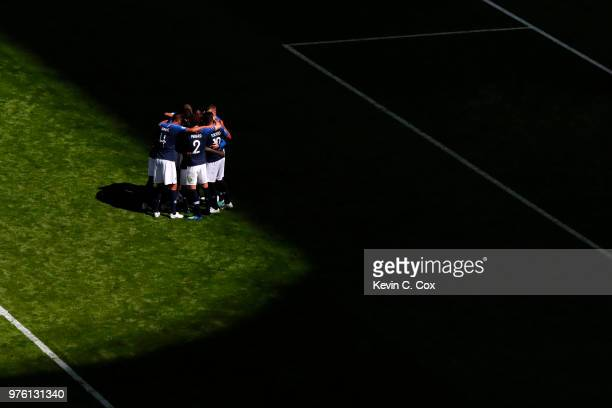 France team celebrate their side's first goal a penalty scored by Antoine Griezmann of France during the 2018 FIFA World Cup Russia group C match...