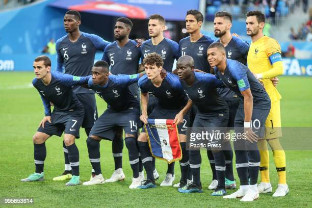 France team during match between France and Belgium valid for the semi final of the 2018 World Cup, held at the Krestovsky Stadium in St Petersburg,...