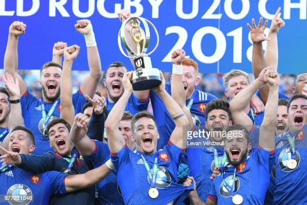 France team holds the World Rugby U20 cup during the World Rugby Under 20 Championship Final between England and France on June 17 2018 in Beziers...