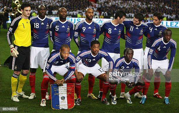 France team line up during the France v Republic of Ireland FIFA 2010 World Cup Qualifying Play Off second leg match at the Stade de France on...