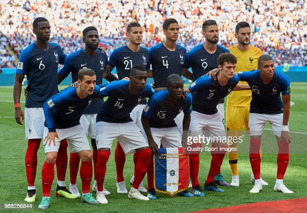 France team line up for the group photo prior to the 2018 FIFA World Cup Russia Round of 16 match between France and Argentina at Kazan Arena on June...