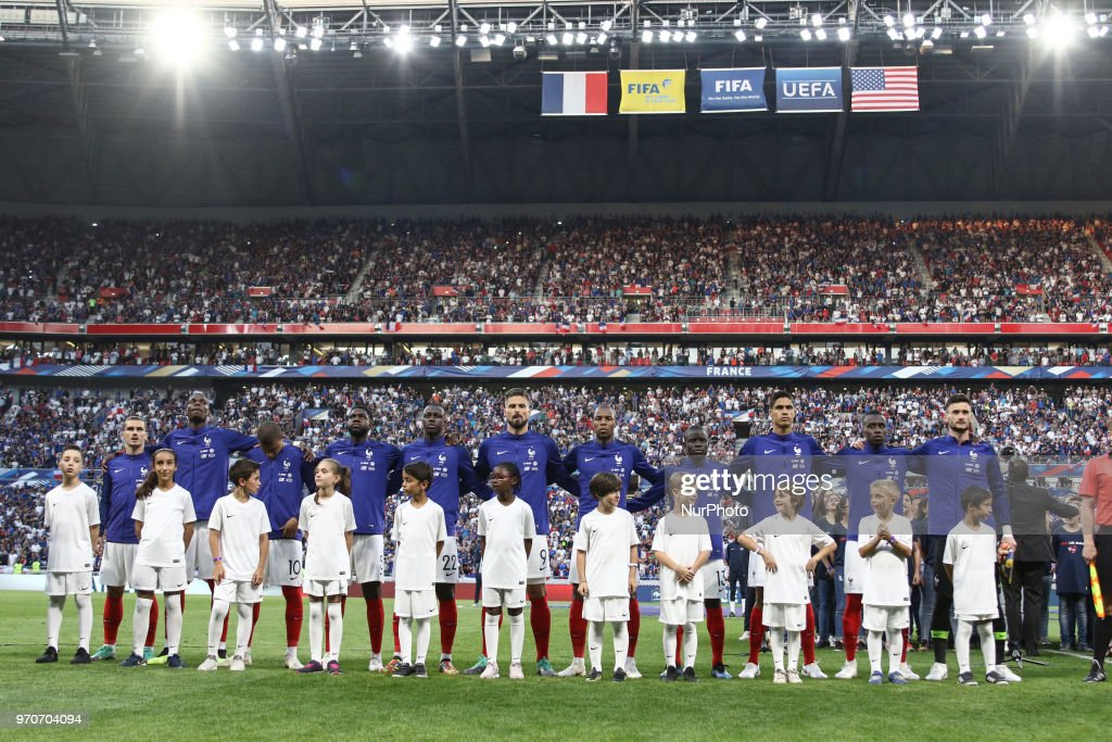 France Team of France during the friendly football match between France and USA at the at the Parc Olympique lyonnais stadium in Decines-Charpieu, near Lyon on June 9, 2018.