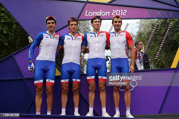France team pose ahead of the Men's Road Race Road Cycling on day 1 of the London 2012 Olympic Games on July 28 2012 in London England