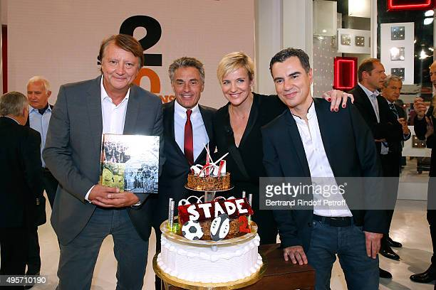 """France Television Journalist Lionel Chamoulaud with his Book """"Stade 2 : 40 ans d'emotion"""", Journalist Gerard Holtz, Presenter of Stade 2, Celine..."""
