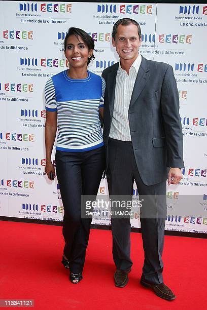 France Televisions Press Conference In Paris France On August 28 2008 Audrey Pulvar and Louis Laforge