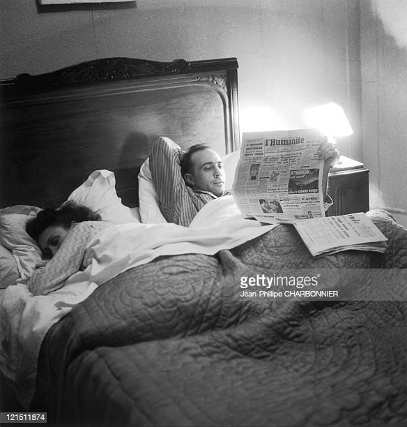 France The Family Life Of A Salaried Employee Reading The L'Humanite Newspaper Before Bed