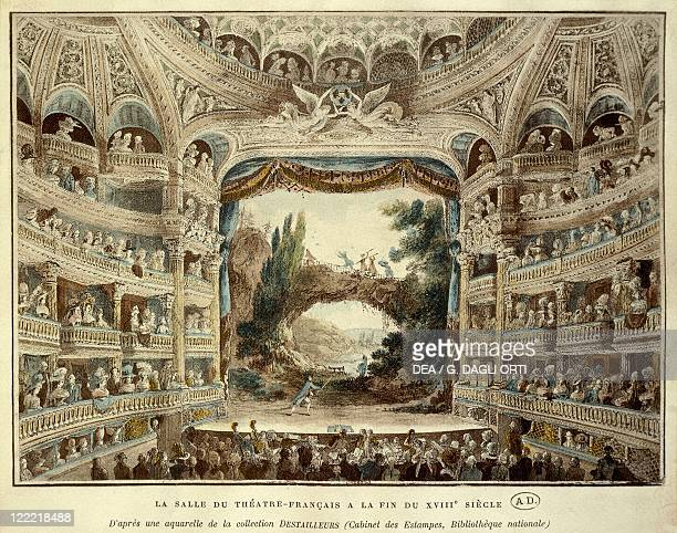 France The hall of the Theatre Francais in Paris by Meunier engraving after a watercolor
