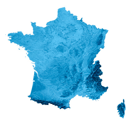 France Topographic Map Isolated 173169362