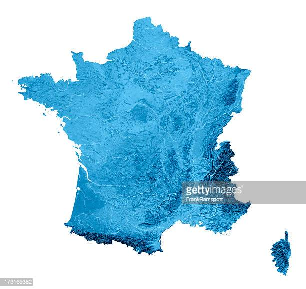 France Topographic Map Isolated